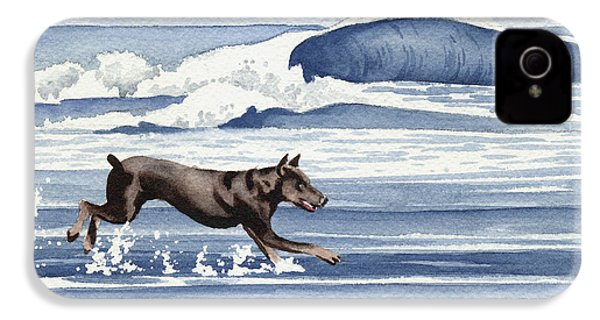 Doberman At The Beach  IPhone 4 / 4s Case by David Rogers