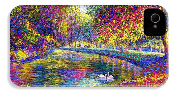 Drifting Beauties, Swans, Colorful Modern Impressionism IPhone 4 / 4s Case by Jane Small