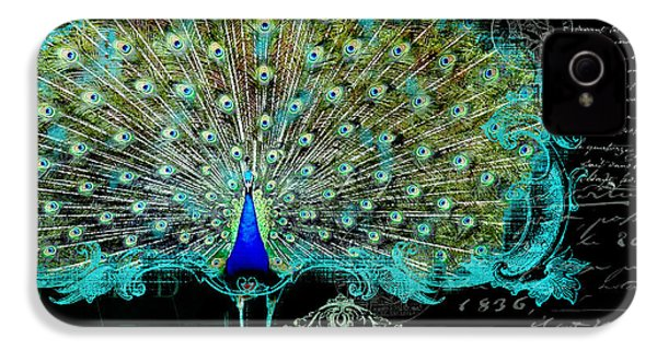 Elegant Peacock W Vintage Scrolls 3 IPhone 4 / 4s Case by Audrey Jeanne Roberts