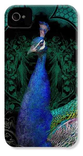 Elegant Peacock W Vintage Scrolls  IPhone 4 / 4s Case by Audrey Jeanne Roberts