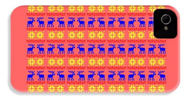 Elk Pattern Changeable Background  IPhone 4 / 4s Case by Sebastien Coell