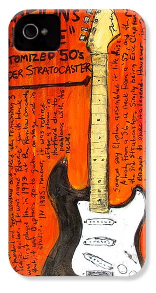 Eric Claptons Stratocaster Blackie IPhone 4 / 4s Case by Karl Haglund