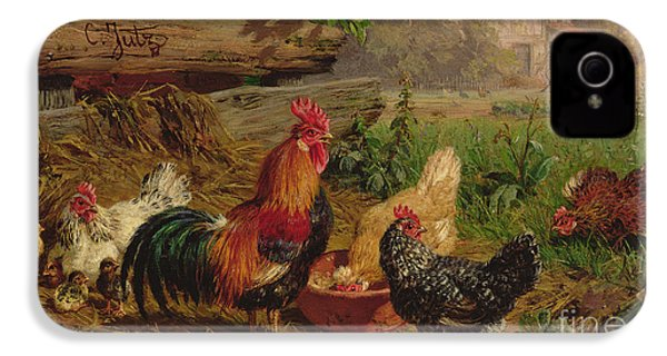 Farmyard Chickens IPhone 4 / 4s Case by Carl Jutz