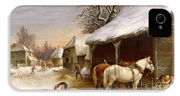 Farmyard In Winter  IPhone 4 / 4s Case by Henry Woollett