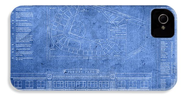 Fenway Park Blueprints Home Of Baseball Team Boston Red Sox On Worn Parchment IPhone 4 / 4s Case by Design Turnpike