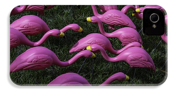 Flock Of  Plastic Flamingos IPhone 4 / 4s Case by Garry Gay