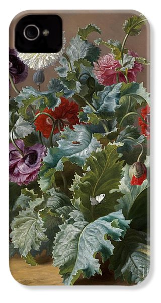 Flower Piece With Poppies And Butterflies IPhone 4 / 4s Case by Celestial Images