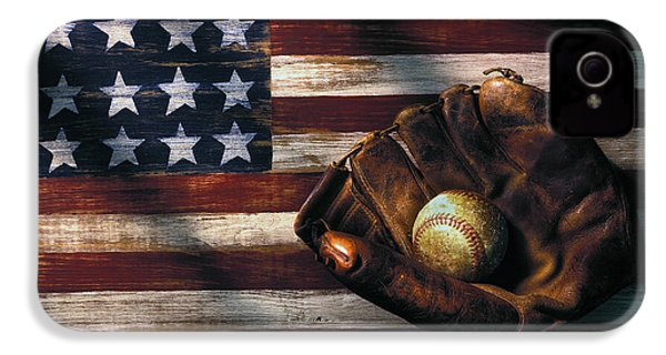 Folk Art American Flag And Baseball Mitt IPhone 4 / 4s Case by Garry Gay