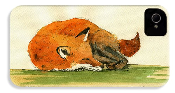 Fox Sleeping Painting IPhone 4 / 4s Case by Juan  Bosco