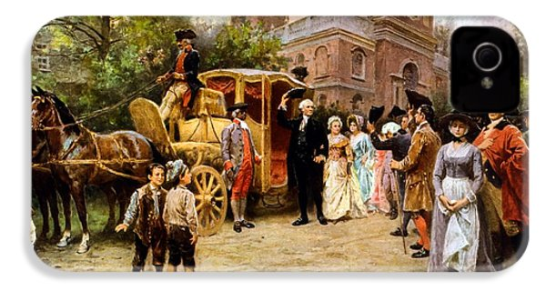 George Washington Arriving At Christ Church IPhone 4 / 4s Case by War Is Hell Store