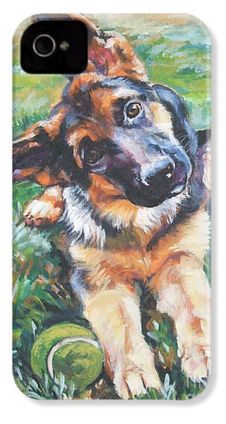 German Shepherd Pup With Ball IPhone 4 / 4s Case by Lee Ann Shepard