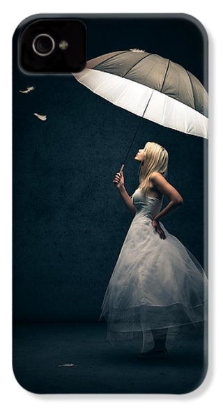 Girl With Umbrella And Falling Feathers IPhone 4 / 4s Case by Johan Swanepoel