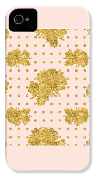 Golden Gold Blush Pink Floral Rose Cluster W Dot Bedding Home Decor IPhone 4 / 4s Case by Audrey Jeanne Roberts