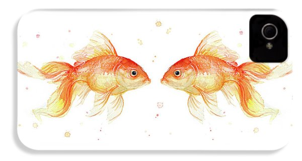 Goldfish Love Watercolor IPhone 4 / 4s Case by Olga Shvartsur