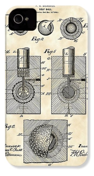 Golf Ball Patent 1902 - Vintage IPhone 4 / 4s Case by Stephen Younts