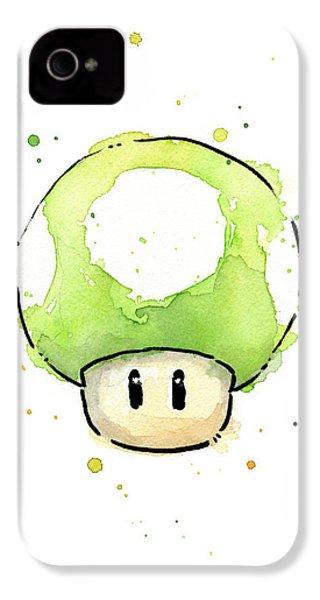 Green 1up Mushroom IPhone 4 / 4s Case by Olga Shvartsur