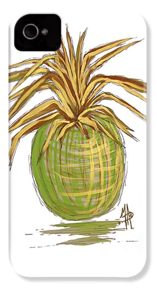 Green Gold Pineapple Painting Illustration Aroon Melane 2015 Collection By Madart IPhone 4 / 4s Case by Megan Duncanson
