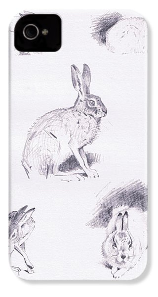 Hare Studies IPhone 4 / 4s Case by Archibald Thorburn
