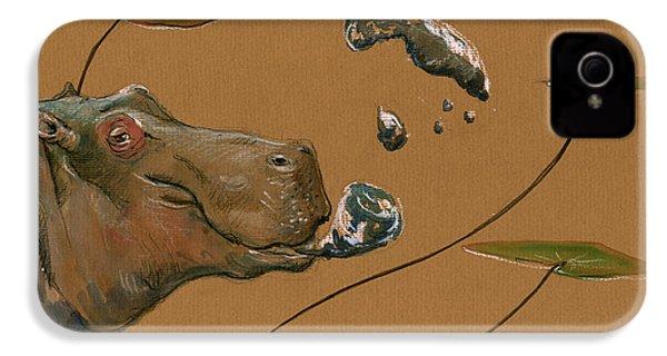 Hippo Bubbles IPhone 4 / 4s Case by Juan  Bosco