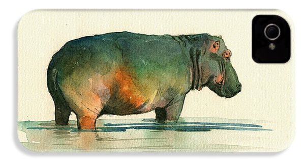 Hippo Watercolor Painting IPhone 4 / 4s Case by Juan  Bosco
