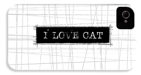 I Love Cat Word Art IPhone 4 / 4s Case by Kathleen Wong
