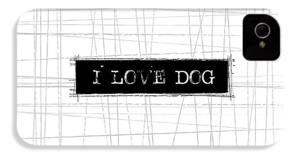 I Love Dog Word Art IPhone 4 / 4s Case by Kathleen Wong