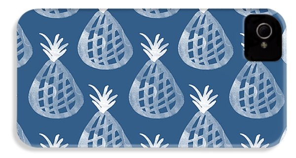 Indigo Pineapple Party IPhone 4 / 4s Case by Linda Woods
