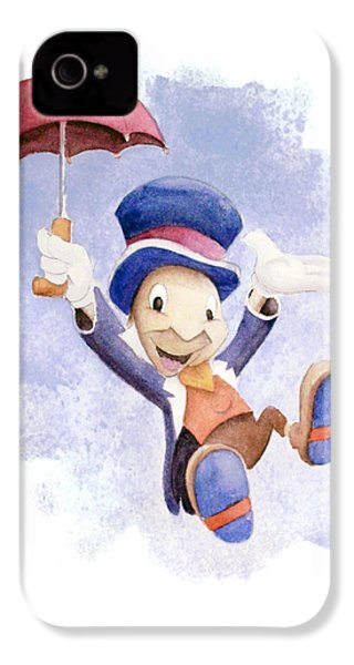Jiminy Cricket With Umbrella IPhone 4 / 4s Case by Andrew Fling