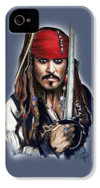 Johnny Depp As Jack Sparrow IPhone 4 / 4s Case by Melanie D