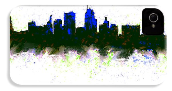 Kansas City Skyline Blue  IPhone 4 / 4s Case by Enki Art