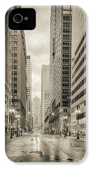 Lasalle Street Canyon With Chicago Board Of Trade Building At The South Side - Chicago Illinois IPhone 4 / 4s Case by Silvio Ligutti