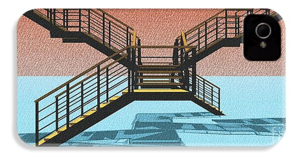 Large Stair 38 On Cyan And Strange Red Background Abstract Arhitecture IPhone 4 / 4s Case by Pablo Franchi