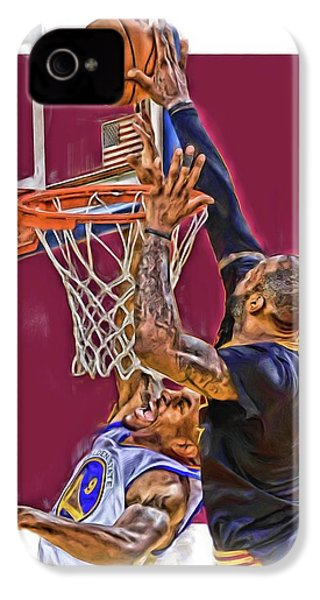Lebron James Cleveland Cavaliers Oil Art IPhone 4 / 4s Case by Joe Hamilton