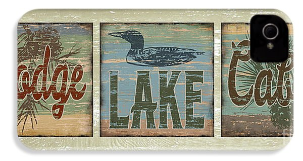 Lodge Lake Cabin Sign IPhone 4 / 4s Case by Joe Low