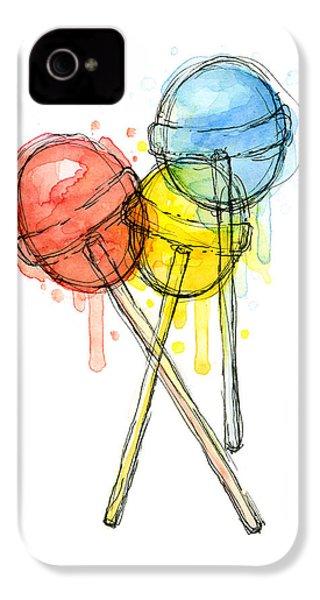 Lollipop Candy Watercolor IPhone 4 / 4s Case by Olga Shvartsur