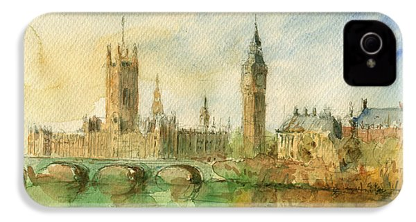 London Parliament IPhone 4 / 4s Case by Juan  Bosco