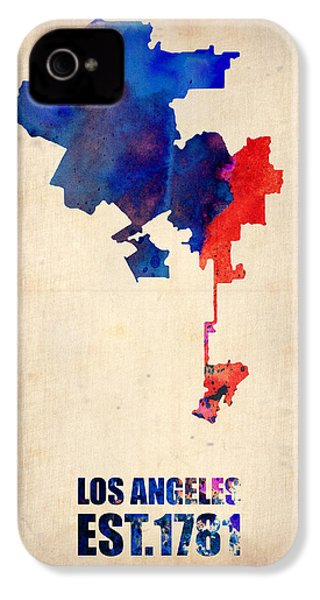 Los Angeles Watercolor Map 1 IPhone 4 / 4s Case by Naxart Studio