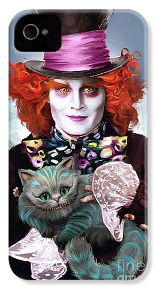 Mad Hatter And Cheshire Cat IPhone 4 / 4s Case by Melanie D