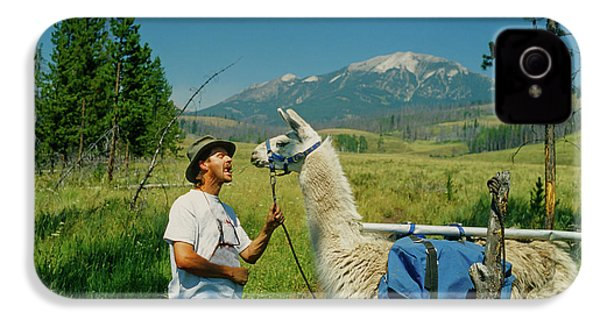 Man Teasing A Llama IPhone 4 / 4s Case by Jerry Voss