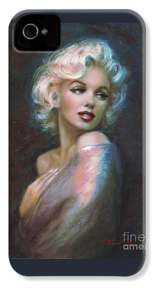 Marilyn Romantic Ww Dark Blue IPhone 4 / 4s Case by Theo Danella