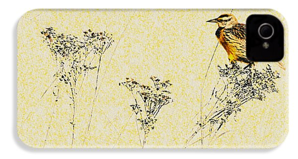 Meadowlark In Kansas Prairie 1 IPhone 4 / 4s Case by Anna Louise