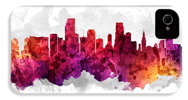 Miami Florida Cityscape 14 IPhone 4 / 4s Case by Aged Pixel