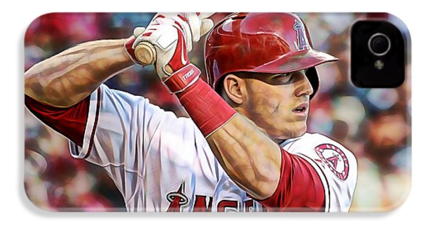 Mike Trout Baseball IPhone 4 / 4s Case by Marvin Blaine