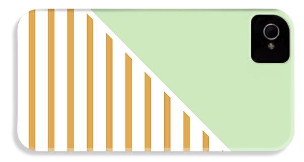 Mint And Gold Geometric IPhone 4 / 4s Case by Linda Woods