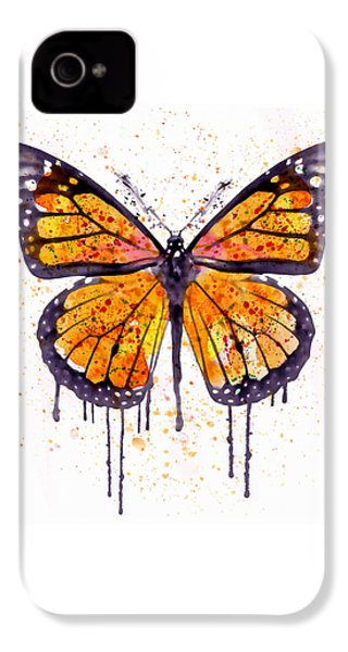 Monarch Butterfly Watercolor IPhone 4 / 4s Case by Marian Voicu