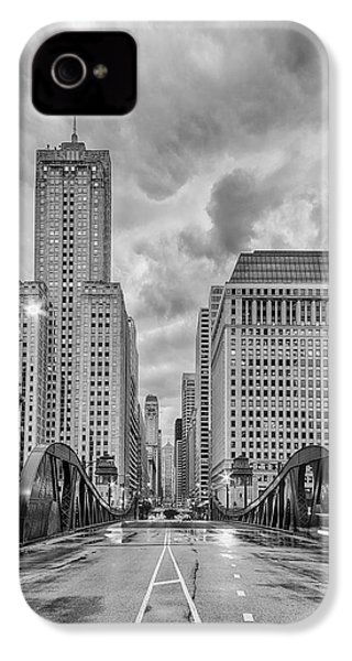 Monochrome Image Of The Marshall Suloway And Lasalle Street Canyon Over Chicago River - Illinois IPhone 4 / 4s Case by Silvio Ligutti