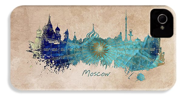 Moscow Skyline Wind Rose IPhone 4 / 4s Case by Justyna JBJart