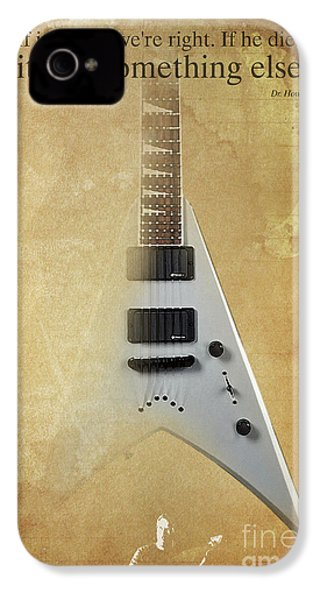 Mr Spock Inspirational Quote And Electric Guitar Brown Vintage Poster For Musicians And Trekkers IPhone 4 / 4s Case by Pablo Franchi