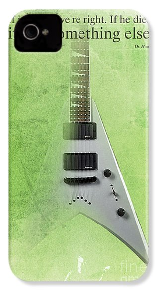 Mr Spock Inspirational Quote And Electric Guitar Green Vintage Poster For Musicians And Trekkers IPhone 4 / 4s Case by Pablo Franchi