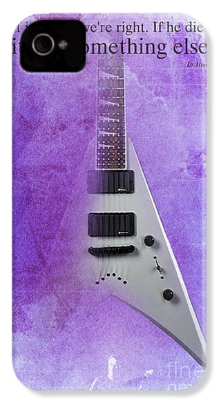 Mr Spock Inspirational Quote And Electric Guitar Purple Vintage Poster For Musicians And Trekkers IPhone 4 / 4s Case by Pablo Franchi